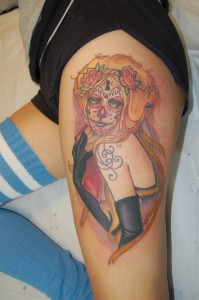 sugar skull pinup tattoo