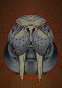 animal art print, walrus