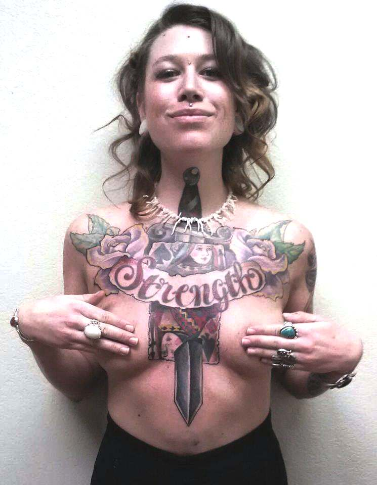 chest tattoo on woman