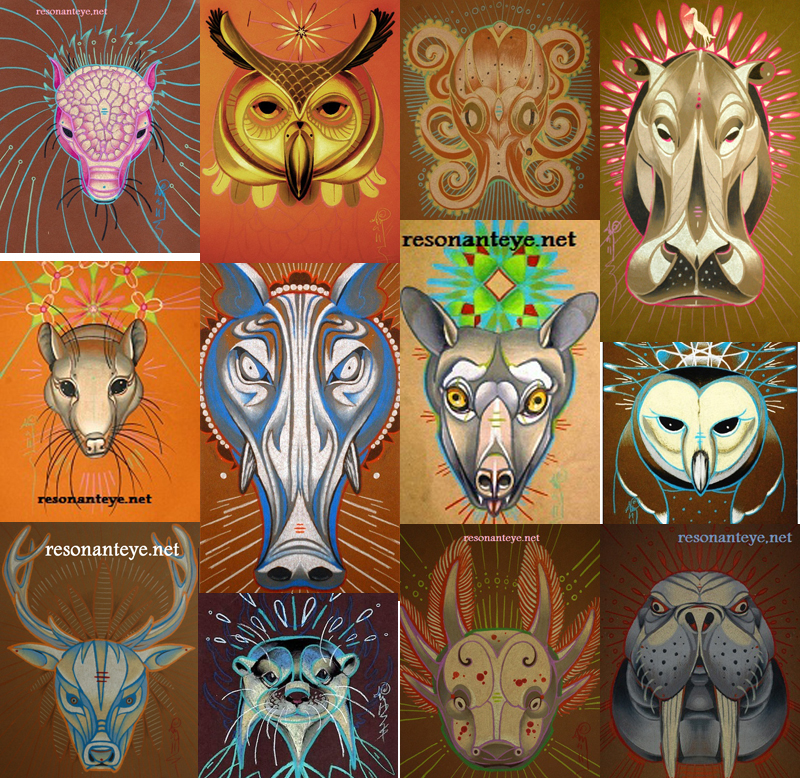 full set of animal totem prints