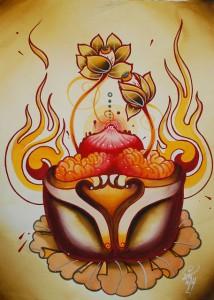 tibetan style tattoo spitshading brainpan