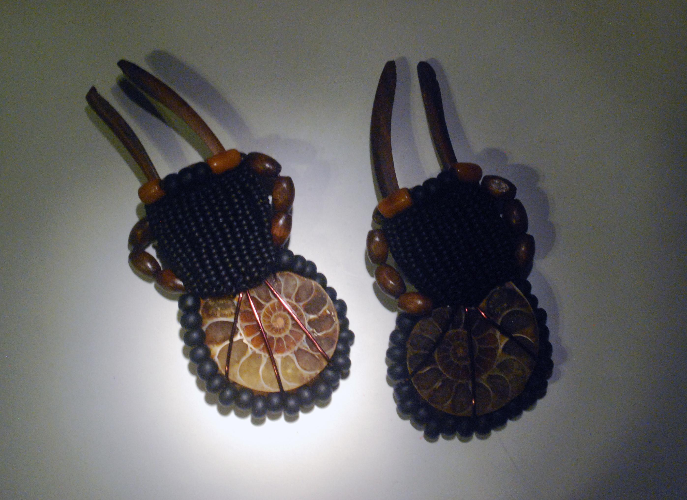 ammonite tribal style stick earrings