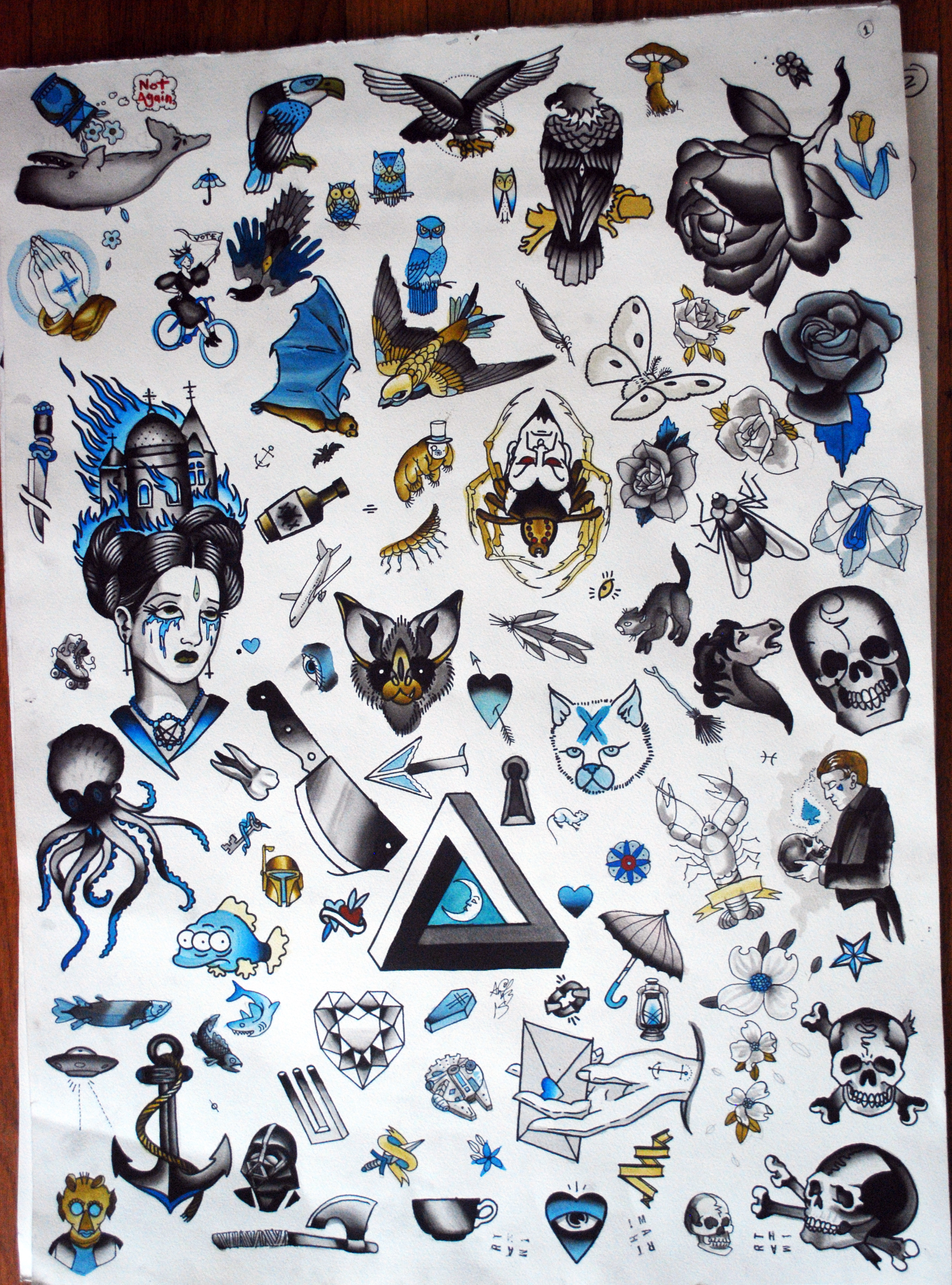 "22x30"" sheet of flash for tattoos, I did this to bring to the evergreen convention."