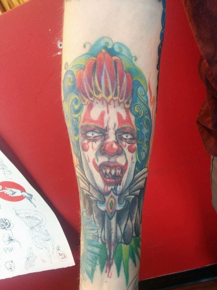 wicked evil creepy clown tattoo