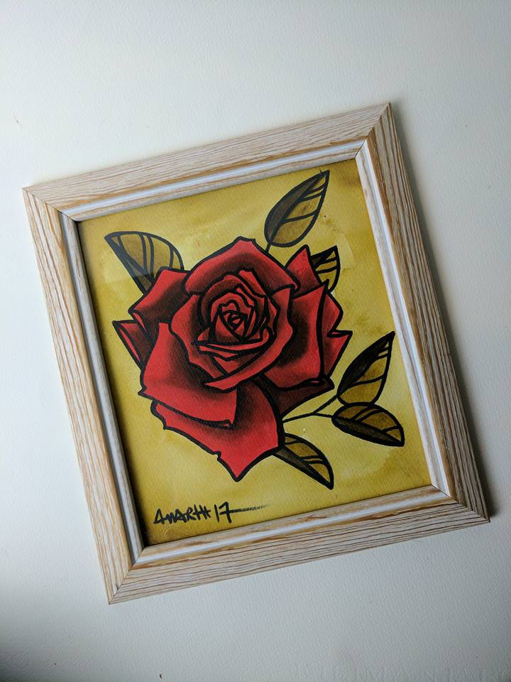 red rose mini painting