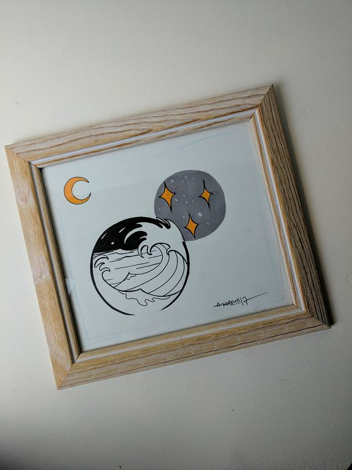 moon and wave mini painting