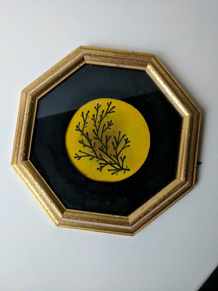 black and yellow botanical mini paintings