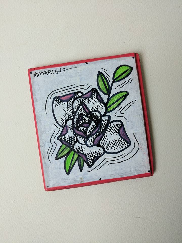 tattoo rose mini painting