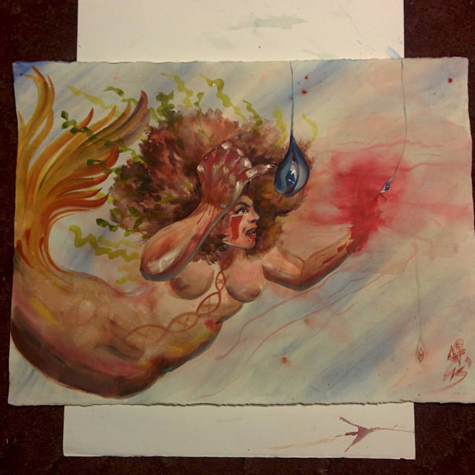 """Bait"", oversized watercolor mermaid"