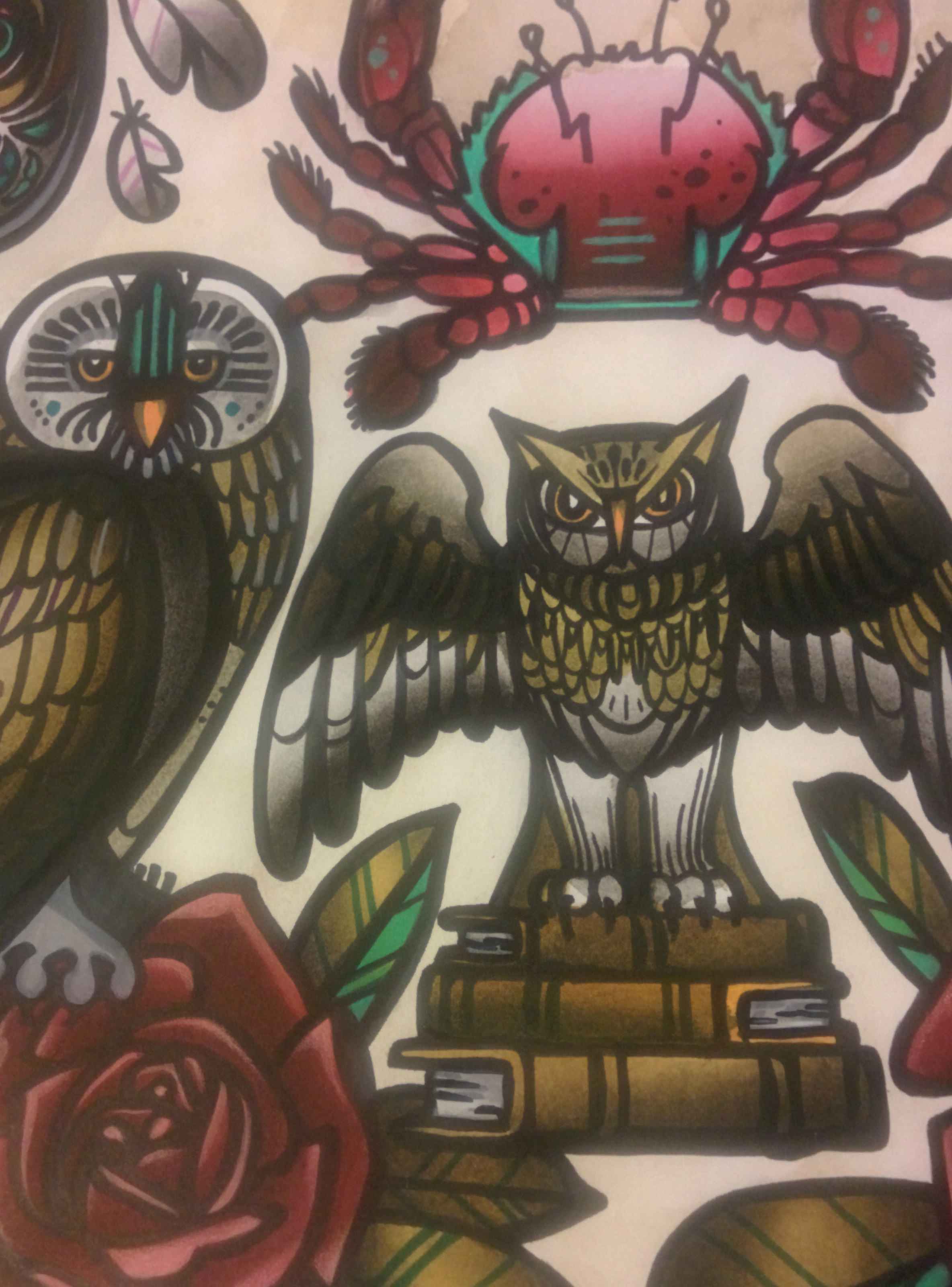 all the owls original tattoo flash sheet
