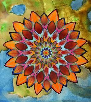 handpainted floral mandala