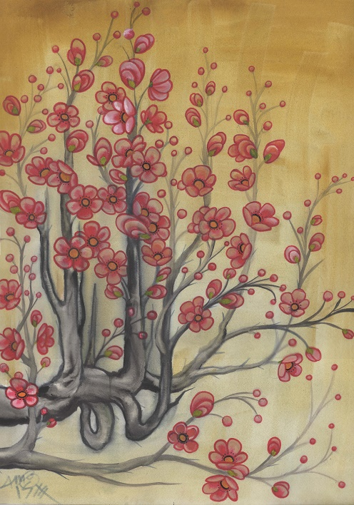 matted print, quince blossom watercolor
