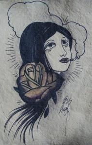 smoking girl on handmade paper