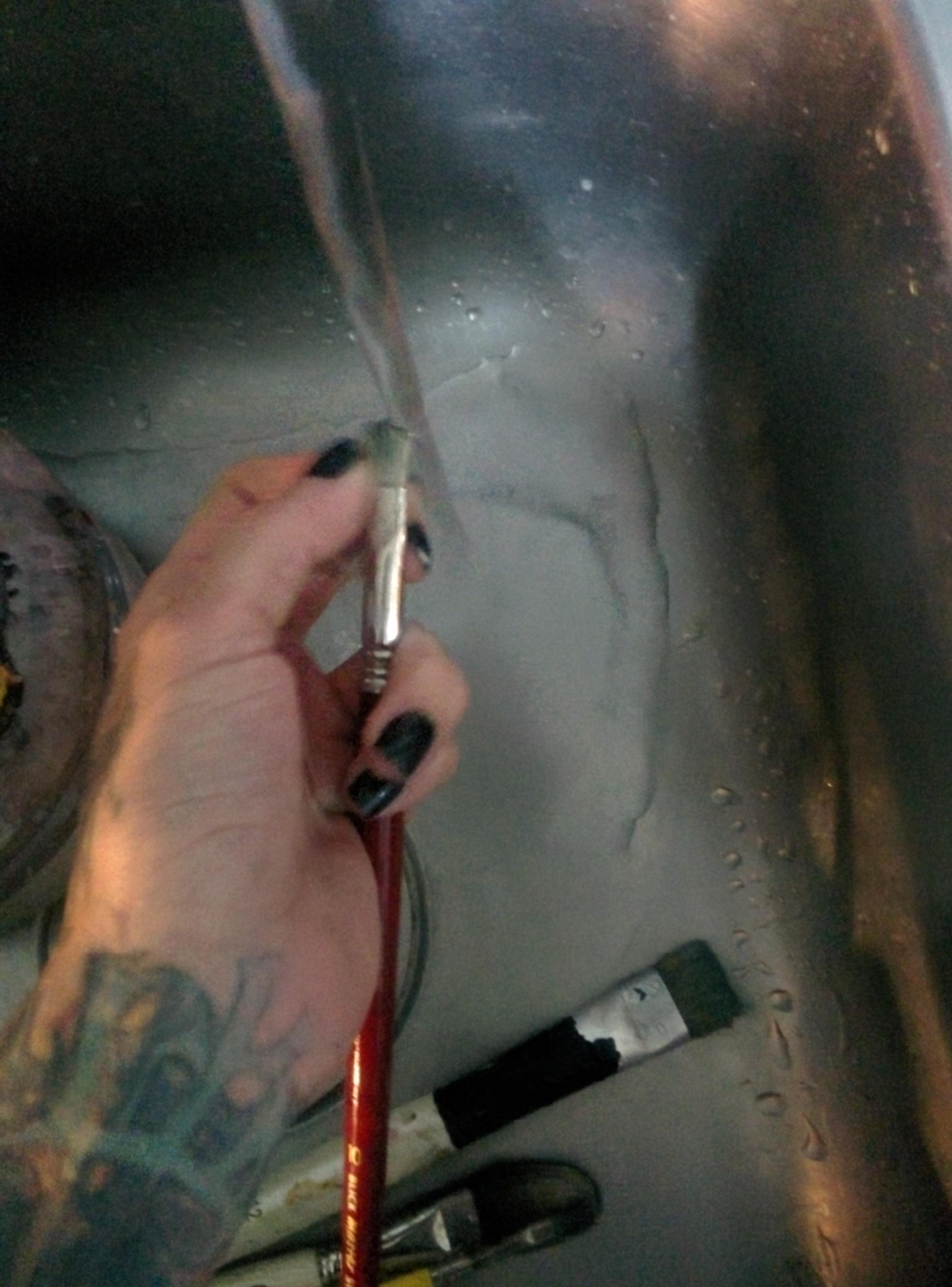 washing paintbrushes