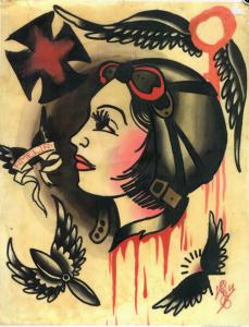 amelia earhart old school tattoo flash