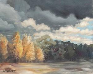 modern landscape oregon autumn birch trees storm