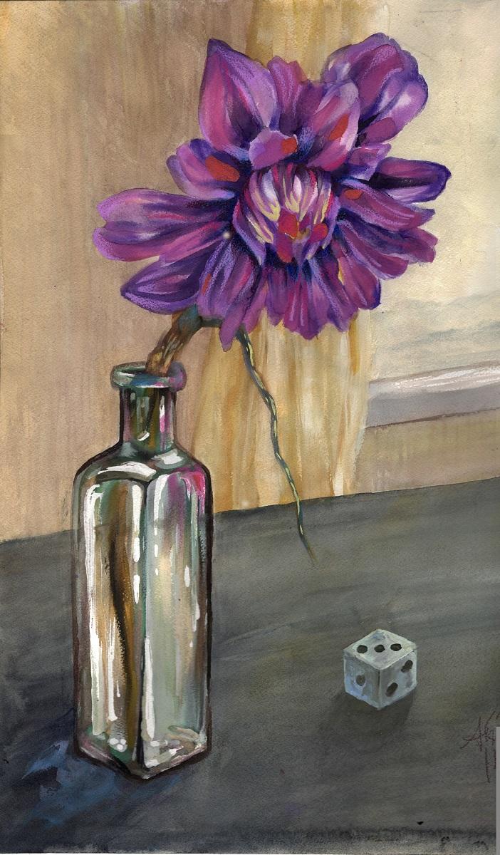 watercolor painting of flower in jar
