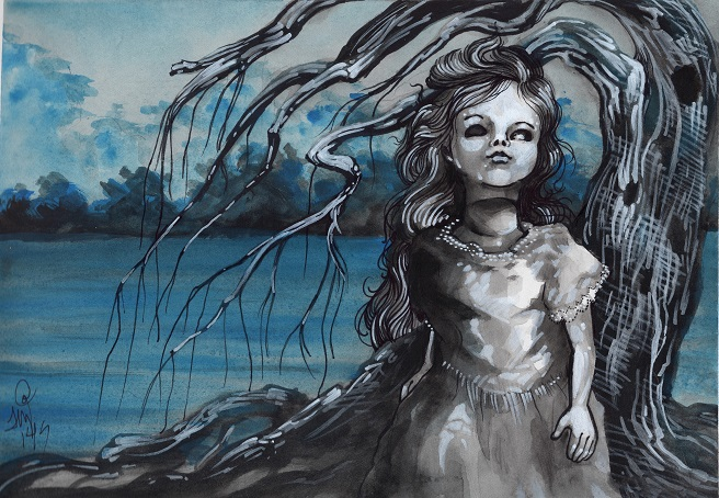 watercolor of creepy doll and willow tree