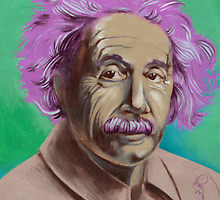 handpainted print of Einstein portrait