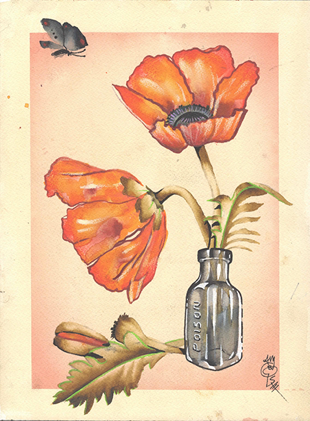 Loose Poppies in a Poison Jar