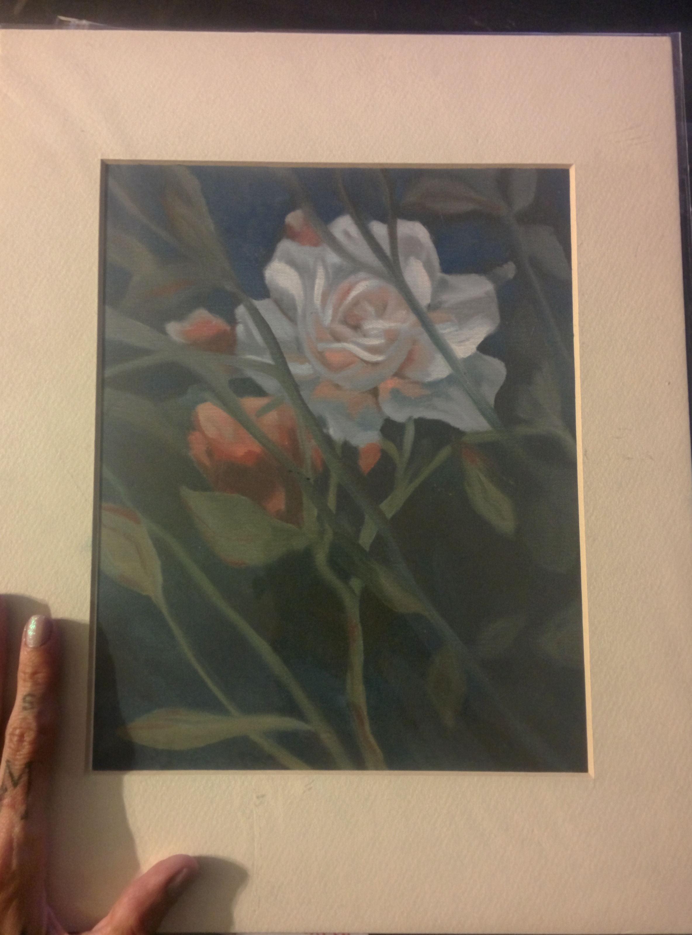 "matted print of ""rose in the back garden"""