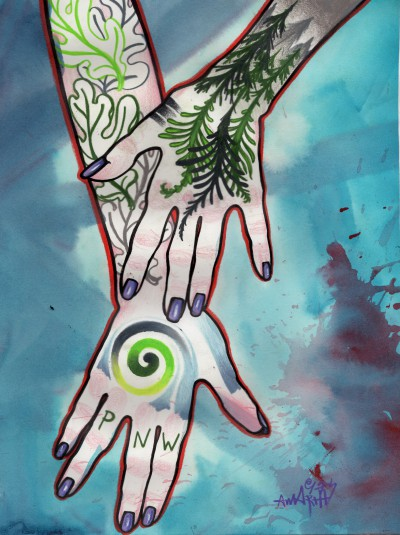 tattooed hands painting, pacific northwest