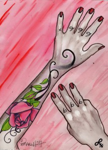 pink floral arm tattoo painting