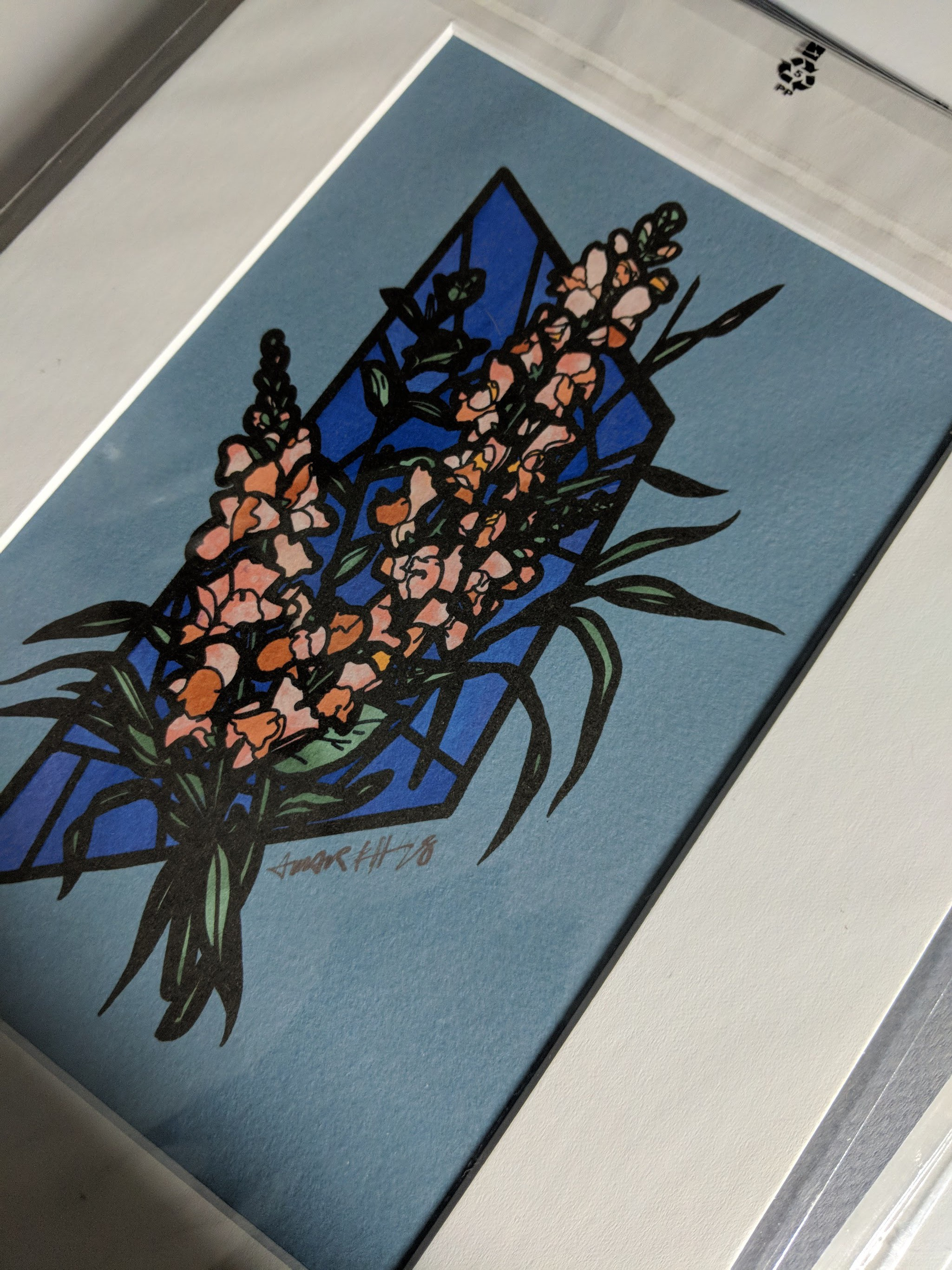Stained glass snapdragon (print)