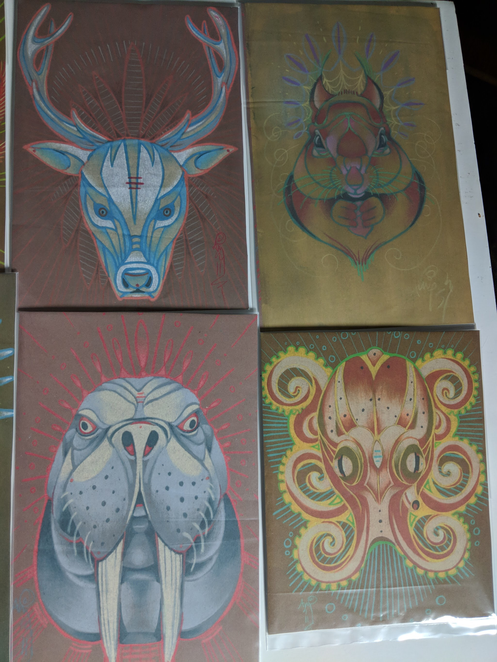 set of 11 mini prints of animal totem series