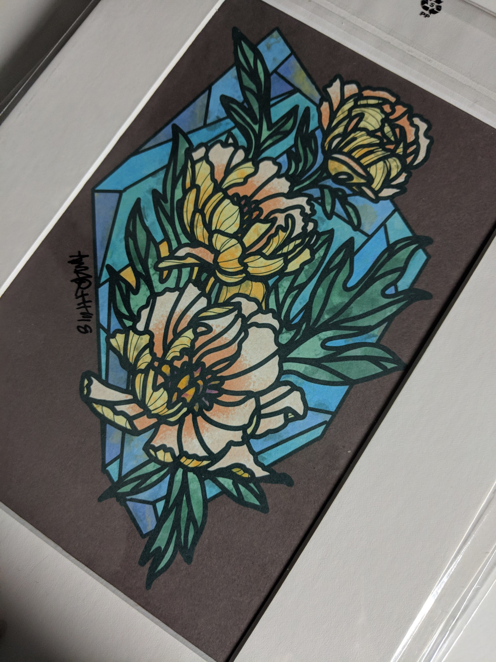 Stained glass Peonies(print)