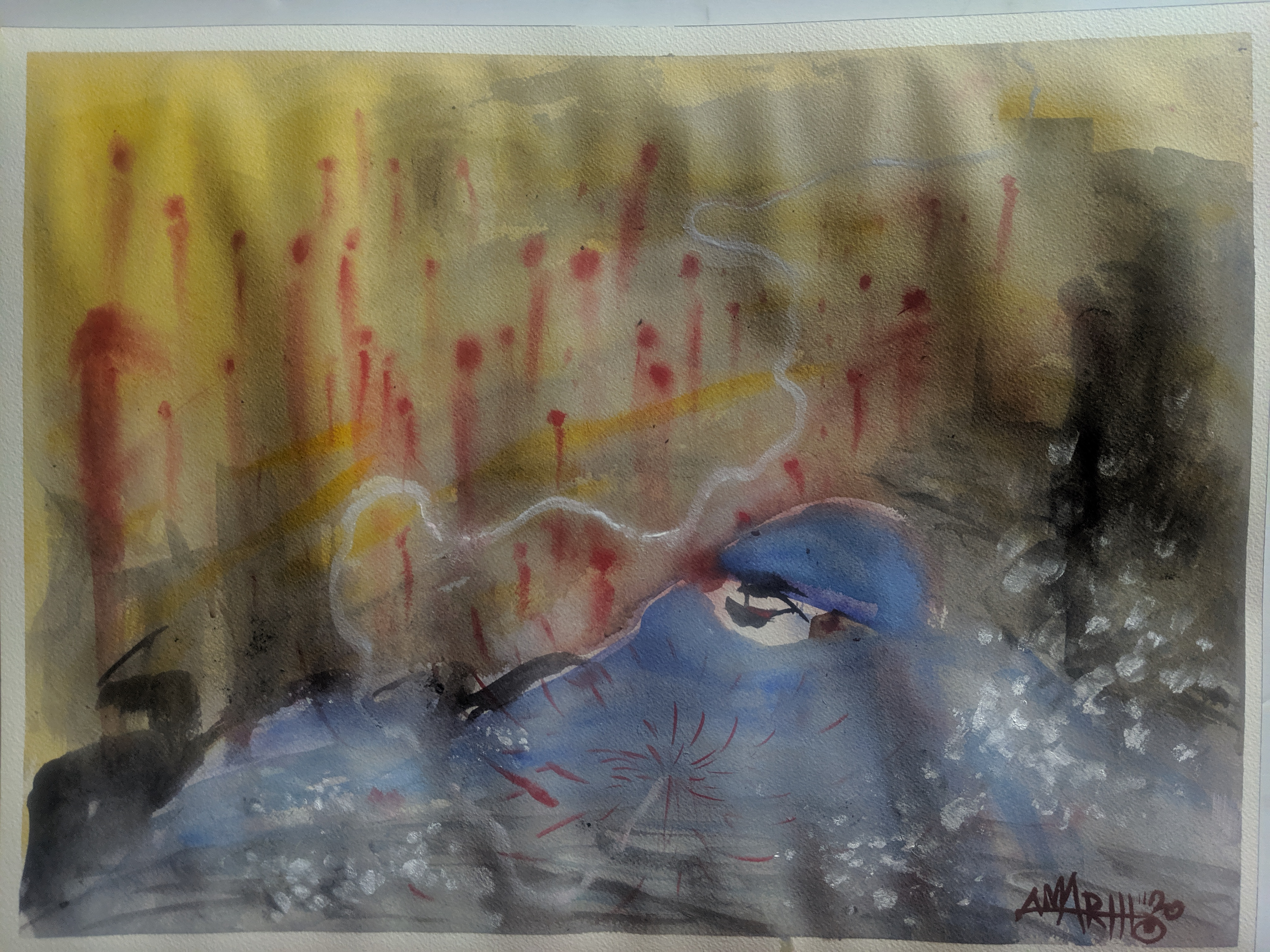 "no. 3 - Iran (quarantine paintings, 2020)  watercolor, oil, gesso on arches paper, 18x24""  dedicated for Dr. Shirin Rouhani (unknown- 3/19/20)  ""She treated patients at Masih Daneshvari Hospital in Tehran while receiving IV therapy, because there were not enough doctors. Hospitals are faced with a lack of protective gear including medical gowns, N95 masks, gloves, and disinfectants.""  -Javad Tavakoli   "" Tell medècin sans frontiers that we do not need hospitals established by foreigners"". -Health Minister, Alireza Vahhabzadeh."