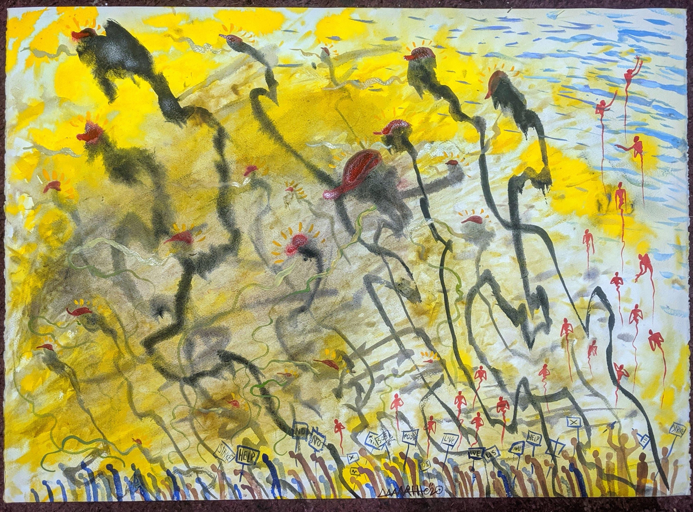 """Busting the Line, Nebraska""  22x30"", watercolor"