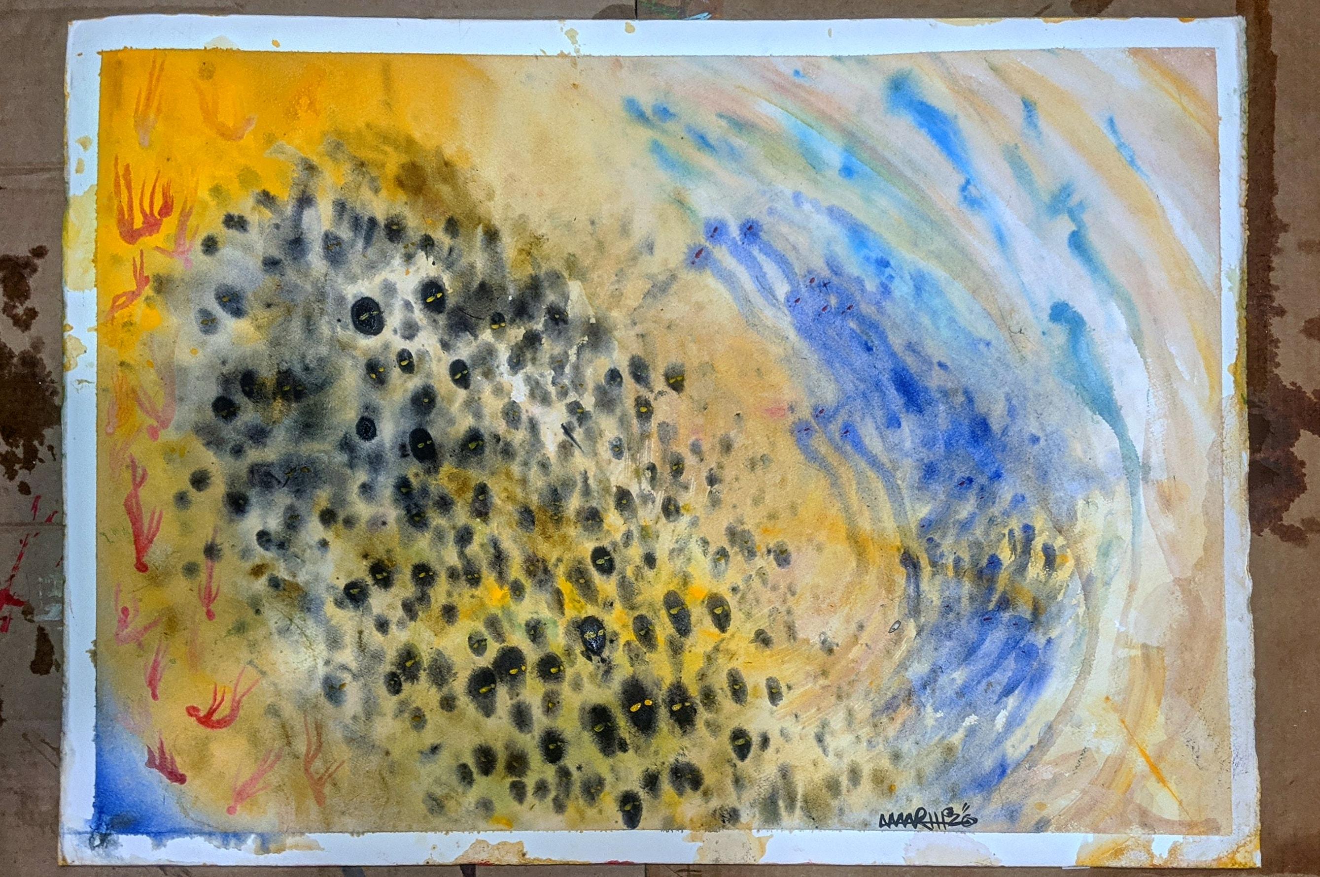 """""""Audience Participation, London"""" 22x30"""", watercolor"""