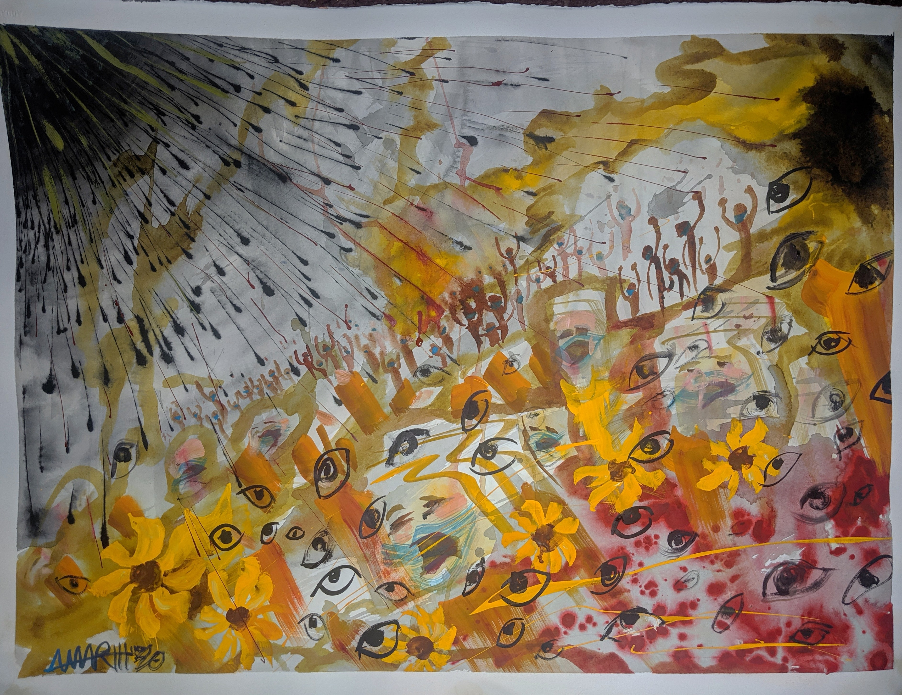 """Calling in the Forces, Sunflowers 22x30"""" watercolor"""