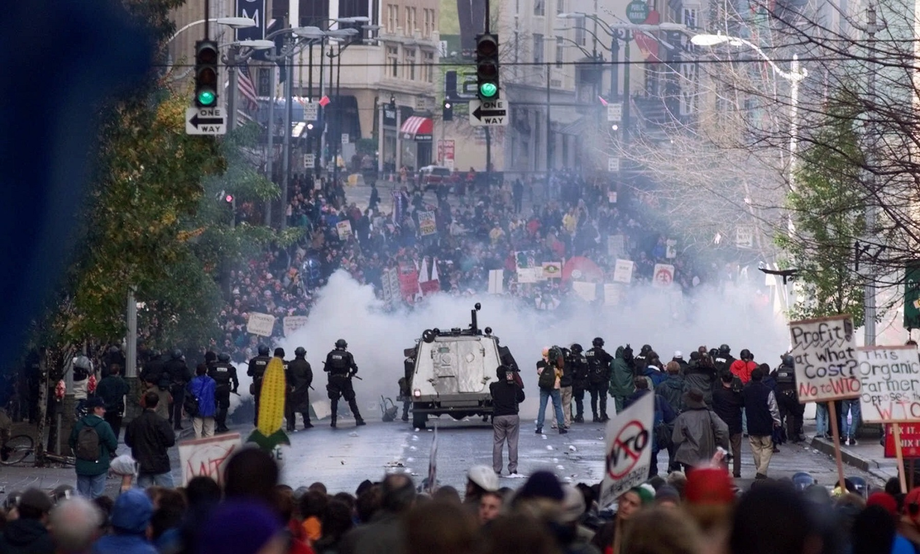 Seattle police use gas to push back World Trade Organization  protesters in downtown Seattle Tuesday, Nov. 30, 1999. The protests delayed the opening of the WTO third ministerial conference. (AP Photo/Eric Draper)