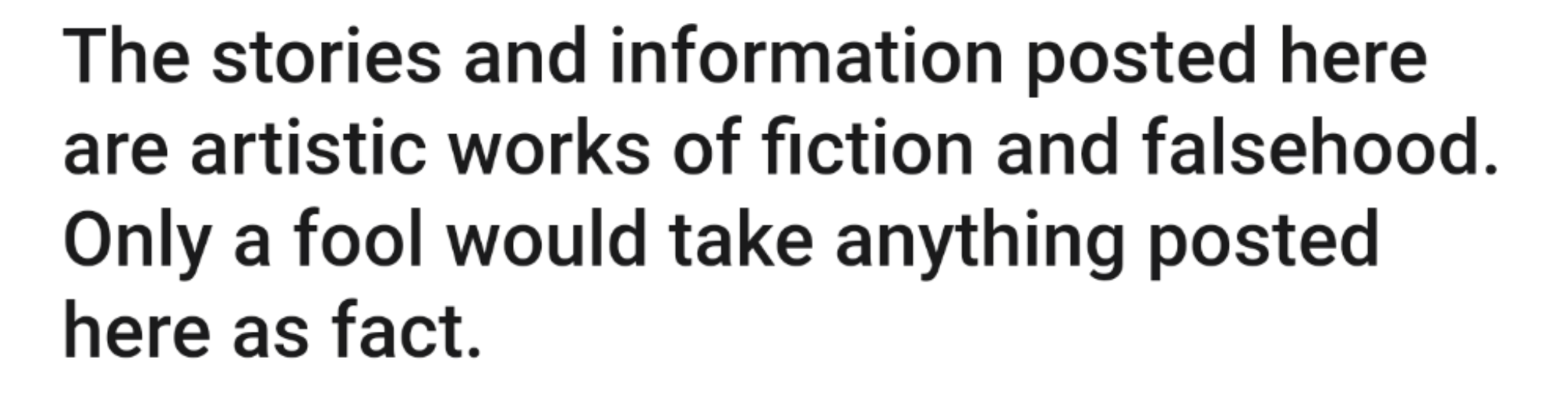 disclaimer that people didn't read, apparently.