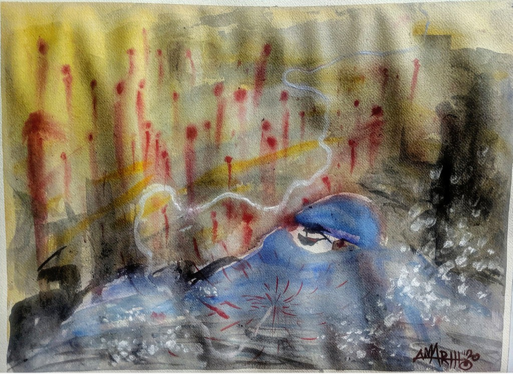 "no. 3 - Iran (quarantine paintings, 2020) watercolor, oil, gesso on arches paper, 18x24"" dedicated for Dr. Shirin Rouhani (unknown- 3/19/20) ""She treated patients at Masih Daneshvari Hospital in Tehran while receiving IV therapy, because there were not enough doctors. Hospitals are faced with a lack of protective gear including medical gowns, N95 masks, gloves, and disinfectants."" -Javad Tavakoli "" Tell medècin sans frontiers that we do not need hospitals established by foreigners"". -Health Minister, Alireza Vahhabzadeh"