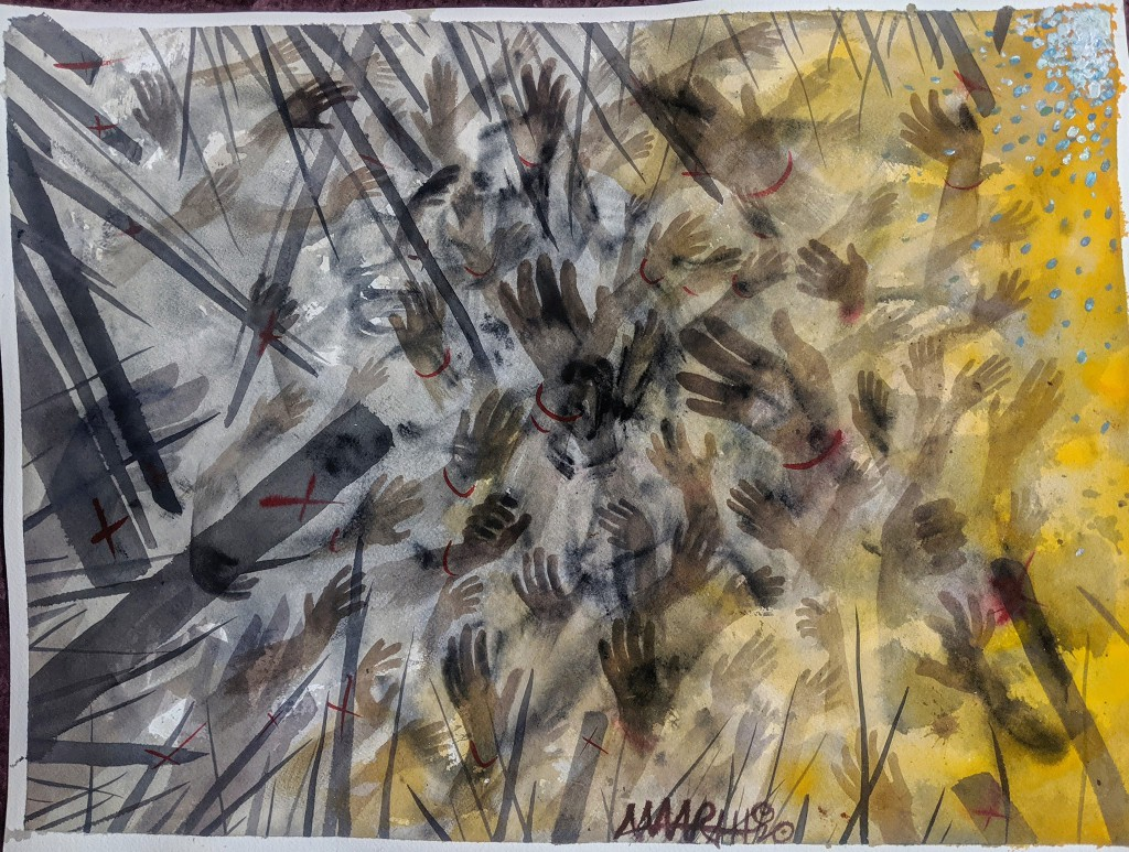 """no. 8 - Johannesburg  (quarantine paintings, 2020)  watercolor, oil, gesso on arches paper, 18x24""""  dedicated for Simon (unknown)   """"They put us here and now we are close to one another. This is why we will be vulnerable to catching Corona. Our government has failed us,"""" Simon, homeless man moved by police to stadium from the street.  """"The lockdown has caused problems, but it is a necessary thing that South Africa had to do,"""" -Maider Mavi, Mozambique Health Ministry. """"Anyone showing symptoms who goes to a state hospital will have their COVID-19 test for free.""""    """"The goal here is to keep Covid out of this community,"""" says Sasha Lalla, a leader at COSUP, a city-supported substance abuse program.  """"I think then we will be seeing a situation where people with compromised immune systems are not just at risk of Covid-19, they are at risk of death. We have a responsibility to keep our most vulnerable safe,"""" he said. """"One case here, it would be like wildfire."""""""