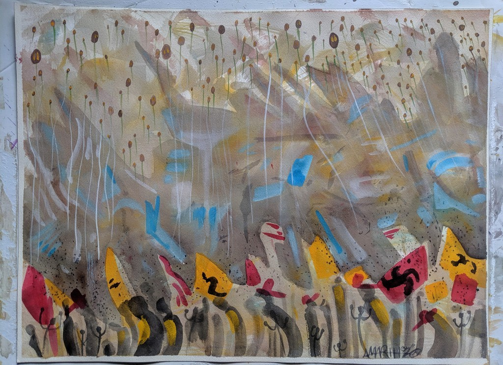 """no. 14 - Lansing (quarantine paintings, 2020)  watercolor, oil, gesso on arches paper, 18×24″  dedicated for Lisa Ewald nurse 1966-2020  """"COVID-19 has impacted the lives of so many citizens throughout the state of Michigan, and even more pronounced in the city of Detroit, as we are the fastest growing city nationally with casualties related to this deadly disease."""" -Rep. Sherry Gay-Dagnogo  """"LIBERATE MICHIGAN!"""" -Donald Trump  edited to add brief artist's note. 153 deaths; each is a tan/brown spots up top. 1083 new cases. each is a black dots near the bottom. counting those was agonizing"""