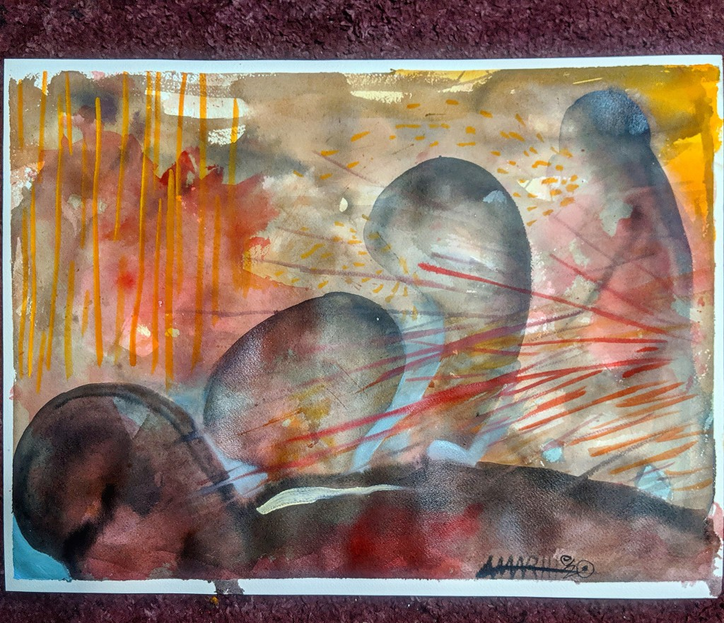 """no. 9 - New York City  (quarantine paintings, 2020)  watercolor, oil, gesso on arches paper, 18x24""""  dedicated for Father Antonio Checo May 6, 1952-April 1, 2020  """"Words cannot describe the sadness and hurt as well as the frustrations that this pandemic has brought about to our daily lives here and across the city...Effective today, all Episcopal churches have been ordered closed until May 17, 2020...we as your clergy are still accessible via phone as your pastors in these times. And since we cannot gather as a community until May, we want to begin to periodically send you the weekly bible readings as that you can use for private prayer worship. ...take an hour each day to pray these prayers remembering those who have died because of this pandemic, as well as those who are sick and those """"essential"""" workers on the frontlines who ensure we as citizens have access to life sustaining resources for day to day living. We ask for the blessing of peace and hope to you all, and that all are safe in this time of uncertainty and anxiety."""" Rev. Antonio Checo and Rev. Jason Moskal, St. Mark's Episcopal Church   """"We brought in 13 machines that basically kill every virus in the place, and uh, if somebody walks through the door it's like, it kills everything on them. If they sneeze, it shoots it down at like 100 mph. It'll neutralize it in split seconds. We have the most sterile building in, I don't know, all of America."""" -Rodney Howard-Browne, River Tampa Bay Megachurch"""
