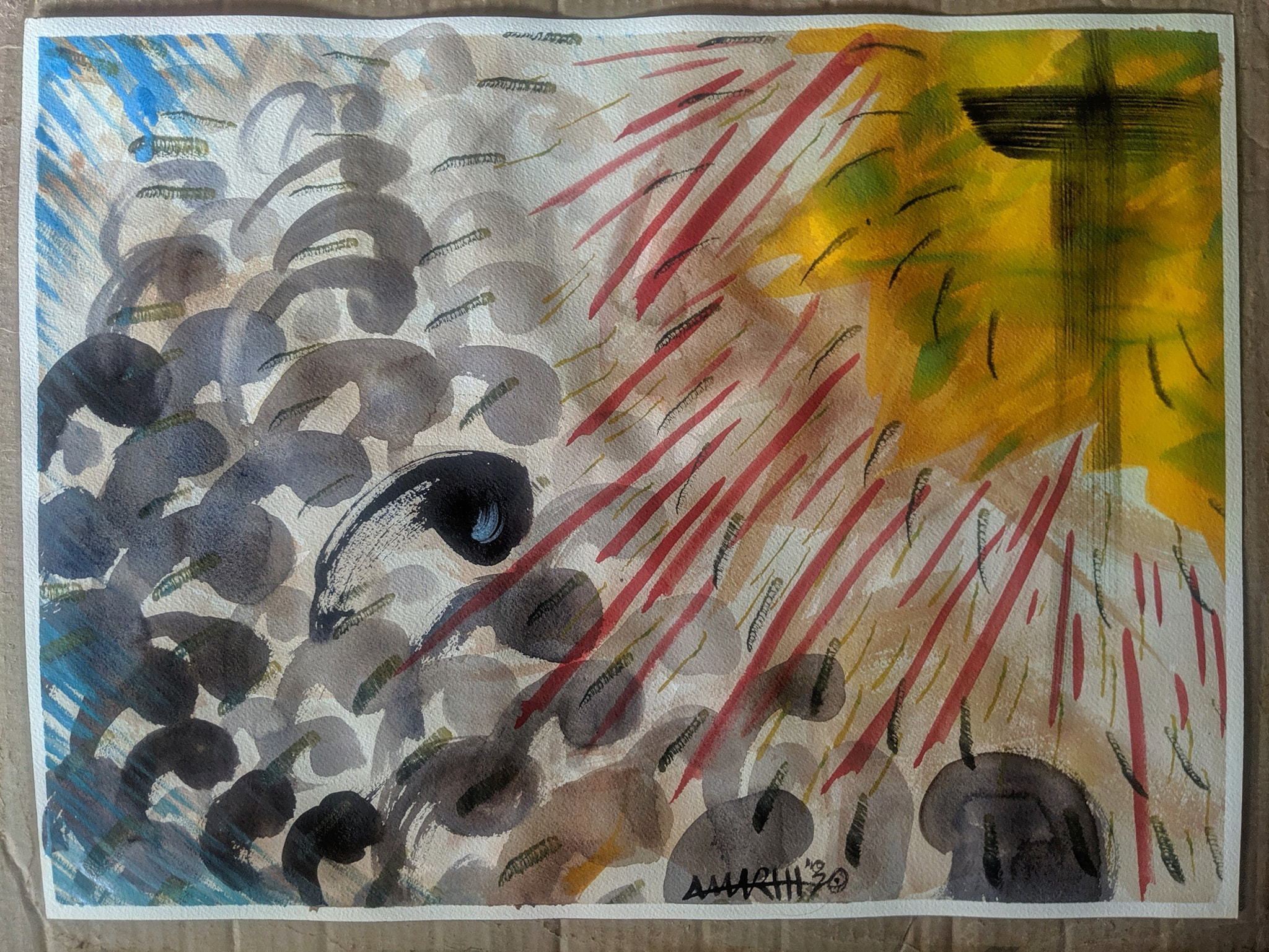 """no. 16 - Ota, Ogun State, Nigeria (quarantine paintings, 2020)  watercolor, oil, gesso on arches paper, 18×24″  dedicated for Dr. Alfa Sa Adu 1952 - 3/31/2020   """"COVID-19: The conflict between staying at home and """"Re-opening"""" is a difficult but ultimately false choice. Re-opening now is a big risk. As I said to my son, if we were in a conventional war and bombs were dropping, would you pretend all is normal? Or is it because this is a virus?"""" -Kingsley Moghalu   """"Shutting down churches would be like shutting down hospitals."""" -David Oyedepo"""