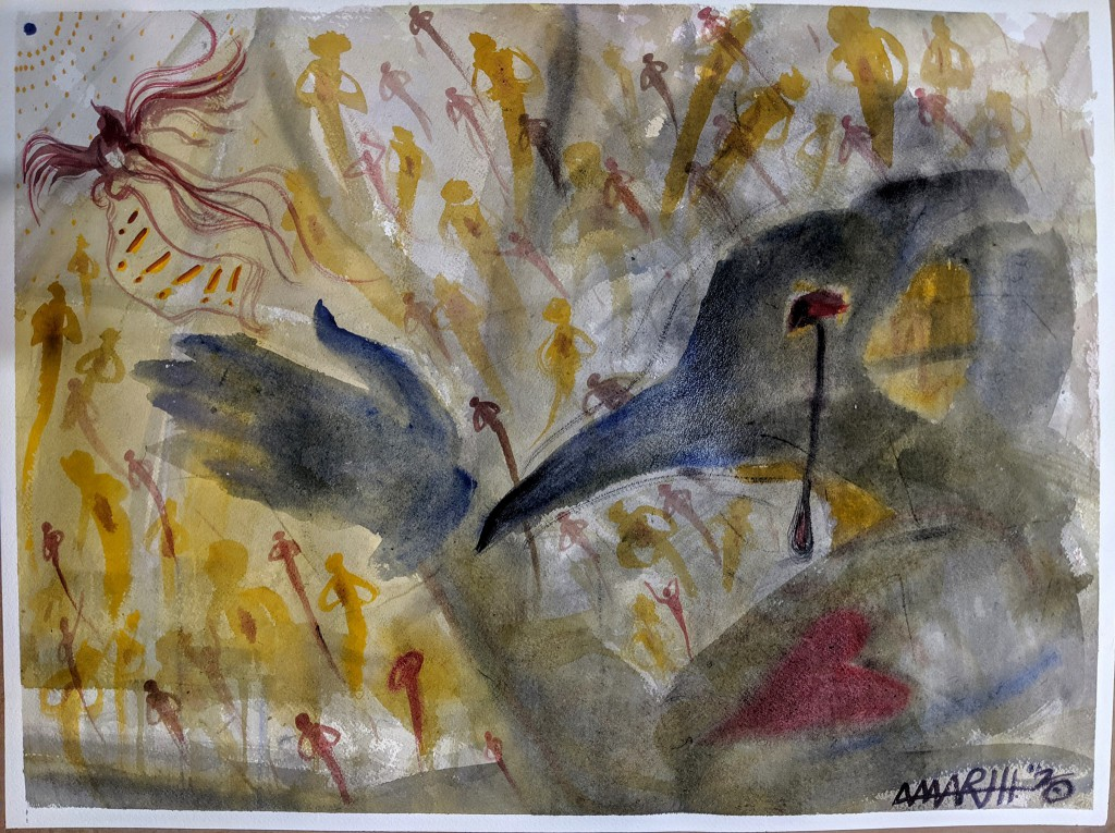 """no. 6 - Wuhan (quarantine paintings, 2020) watercolor, oil, gesso on arches paper, 18x24""""  dedicated for Dr. Li Wenliang (1986-2/7/2020) """"I think there should be more than one voice in a healthy society, and I don't approve of using public power for excessive interference."""" -Dr. Li Wenliang """"Now, the Democrats are politicising the coronavirus… this is their new hoax."""" -Donald Trump """"Trump has botched the response to coronavirus pandemic...classifying deliberations makes it harder for health experts in government without security clearances to be in key meetings. This is unprecedented, unnecessary, and damages our ability to respond to the pandemic."""" -Gregg Gonsalves, a Yale epidemiologist """"You, Dr. Li Wenliang, have been making false comments on the Internet, and will sign a letter of admonishment."""" -Police from the Wuhan Public Security Bureau, Jan 3 2020"""