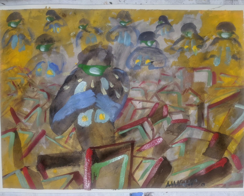 """no. 11 - The Bronx (quarantine paintings, 2020)  watercolor, oil, gesso on arches paper, 18x24""""  dedicated for Rakkhon Kim, a member of Branch 36 in New York City 1970-March 25,2020  """"It is not an exaggeration to say that our men and women in the Postal Service, who were already performing one of the most important jobs in America, are now literally putting their own lives on the line to deliver the food, medicine, and essential supplies that hundreds of millions of Americans depend on every single day during this pandemic."""" -Senator Bernard Sanders  """"It's been losing billions of dollars a year for many, many years... this is the new one, I'm now the demise of the Postal Service. I'll tell you who's the demise of the Postal Service, are these internet companies that give their stuff to the Postal Service...They drop everything in the post office and they say, 'You deliver it.' """" -president Donald Trump"""